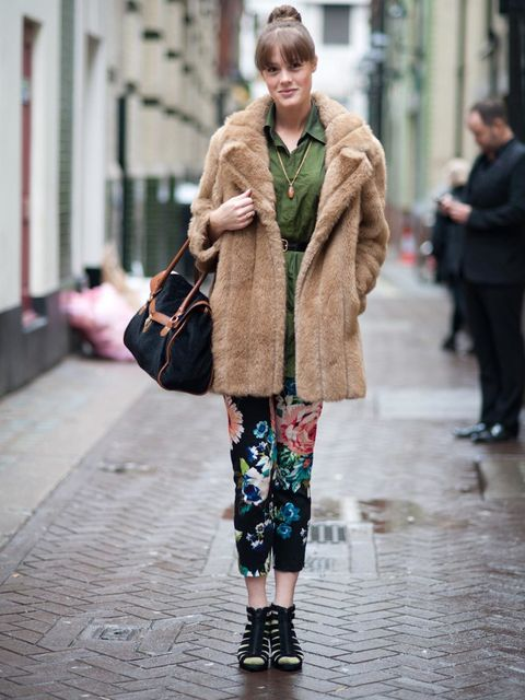 <p>Jasmine Engman, 25, Sales Associate. Vintage coat and top, H&amp&#x3B;M trousers, shoes and bag.</p><p>Photo by Stephanie Sian Smith</p>