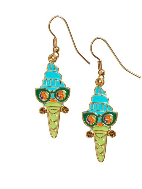 <p>Ice cream earrings, £25'A multi-coloured enamel incarnation of Mrs Quiffy.'</p>
