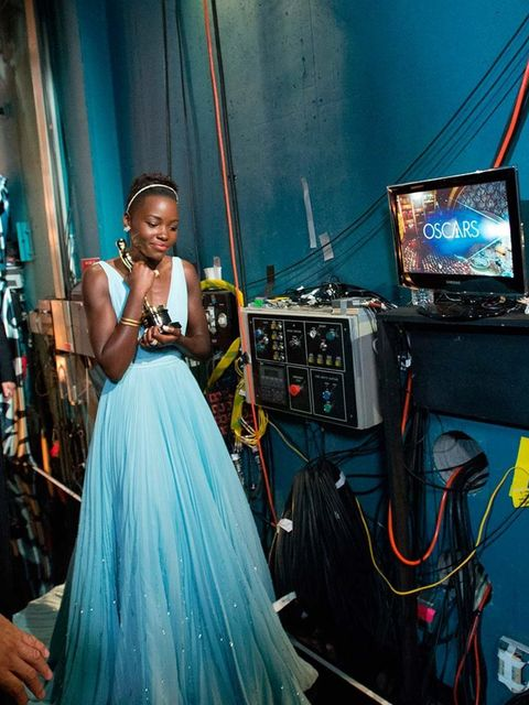<p>Lupita Nyong'o after winning her award backstage at the Academy Awards 2014</p>