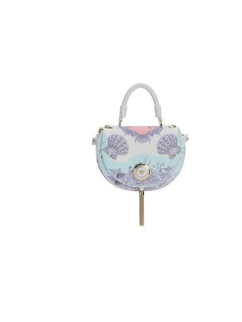 <p>Versace white velvet shoulder bag with seashell acquatic design, £900, for stockists call 0207 259 5700</p>