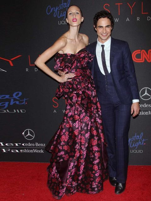 """<p>Anna Cleveland and <a href=""""http://www.elleuk.com/elle-tv/catwalk/zac-posen-autumn-winter-13"""">Zac Posen</a>, who was named Designer of the Year, attends the 2013 Style Awards at Lincoln Center on 4 September 2013.</p>"""