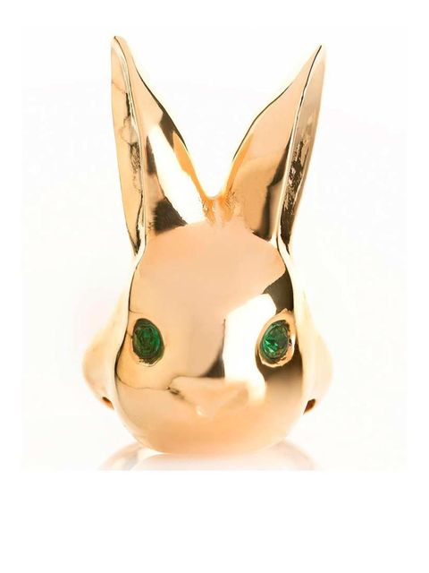 "<p>Not the fluffy kind but equally cute.. </p><p>Rabbit ring £25 by Me and Zena from <a href=""http://www.myflashtrash.com/shop/gold-bright-eyes-rabbit-ring/"">MyFlashTrash</a></p>"