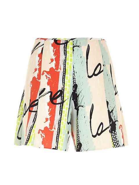 """<p><span style=""""line-height:1.6"""">Wear with black tights and a chunky-knit jumper.</span></p>  <p><a href=""""http://www.riverisland.com/women/shorts/smart-shorts/Green-paint-splash-high-waist-shorts-665223"""" target=""""_blank"""">River Island</a>shorts, £30</p>"""