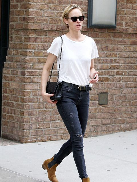 Amber Valetta takes a stroll through the Meatpacking district the day after the Met Gala, May 2015.