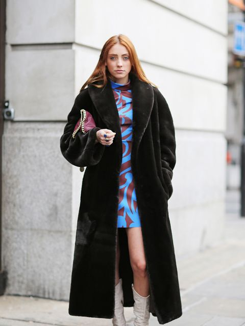 <p>Rio</p>  <p>H&M dress, Stella McCartney bag, vintage coat and boots.</p>