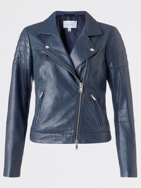 """<p><a href=""""http://www.jigsaw-online.com/products/leather-quilted-sleeve-biker-jacket-10449"""" target=""""_blank"""">Jigsaw</a> navy leather jacket, £295</p>"""