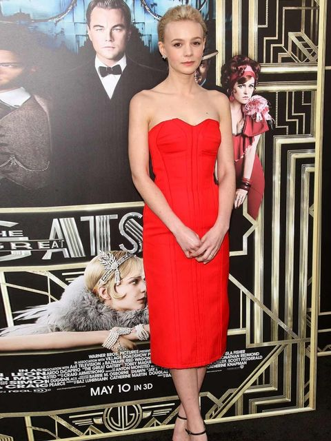 "<p><a href=""http://www.elleuk.com/star-style/celebrity-style-files/carey-mulligan-s-style-file"">Carey Mulligan</a> accessorised her simple red Lanvin sheath with a neat jazz-era token: diamond earrings by Tiffany &amp&#x3B; Co.</p>"