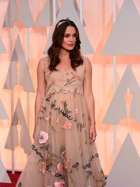 Keira Knightley attends the 2015 Academy Awards in LA.