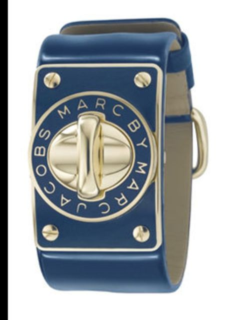 "<p>Watch with blue leather strap, £200, by Marc by Marc Jacobs at <a href=""http://www.goldsmiths.co.uk/product.asp?cid=1&amp;pid=14649"">Goldsmith</a></p>"