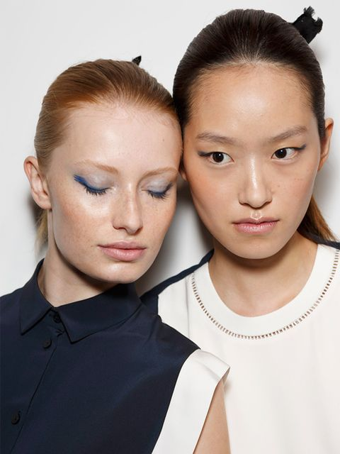 <p>J.JS Lee</p>  <p>The look: Dewy blue</p>  <p>The make-up artist: Lucy Burt for MAC</p>  <p>Key product: MAC Chromaline eyeliner in 'Sea Blue', £14</p>  <p>Top tip: A hint of shocking colour opens up the eyes. After applying Chromaline, use a clear masc