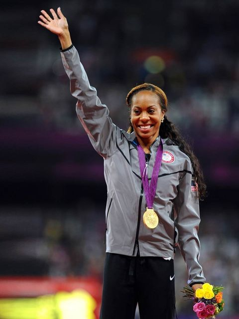 <p>Sanya Richards-Ross wins a gold medal for the Women's 400m during the London Olympics, August 2012.</p>