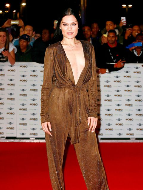 <p>Jessie J wears a gold playsuit to the MOBO Awards, October 2014.</p>