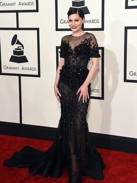 <p>Jessie J, in Ralph & Russo, attends the 57th Annual Grammy Awards in LA.</p>