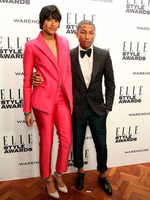 Pharrell Williams, wearing Lanvin, with his wife Helen Lasichanh at the ELLE Style Awards 2014.