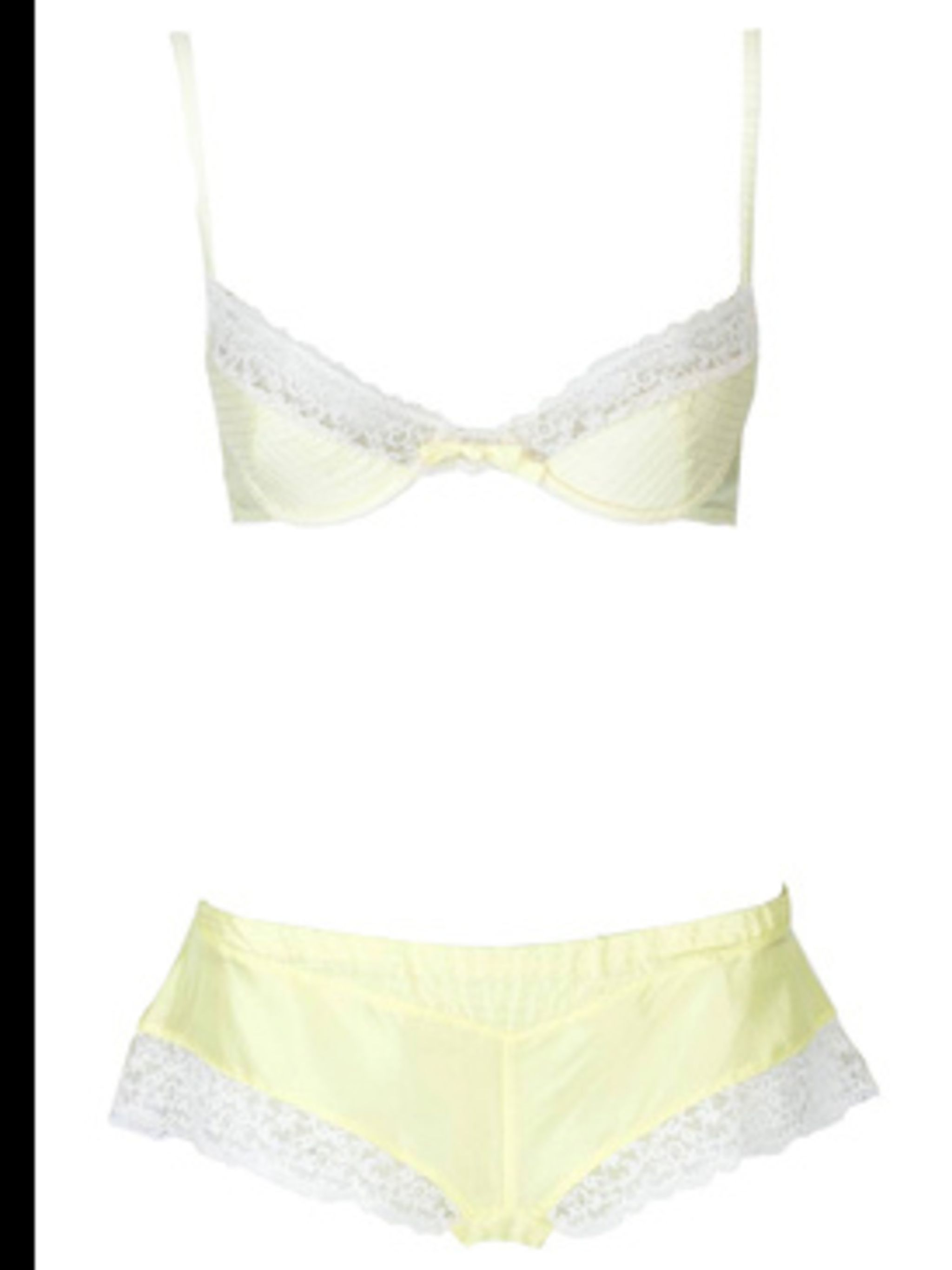 "<p> </p><p>Yellow bra, £47, and brief, £40, by Princess Tam Tam, available from <a href=""http://www.johnlewis.com"">John Lewis</a></p><p>    </p>"