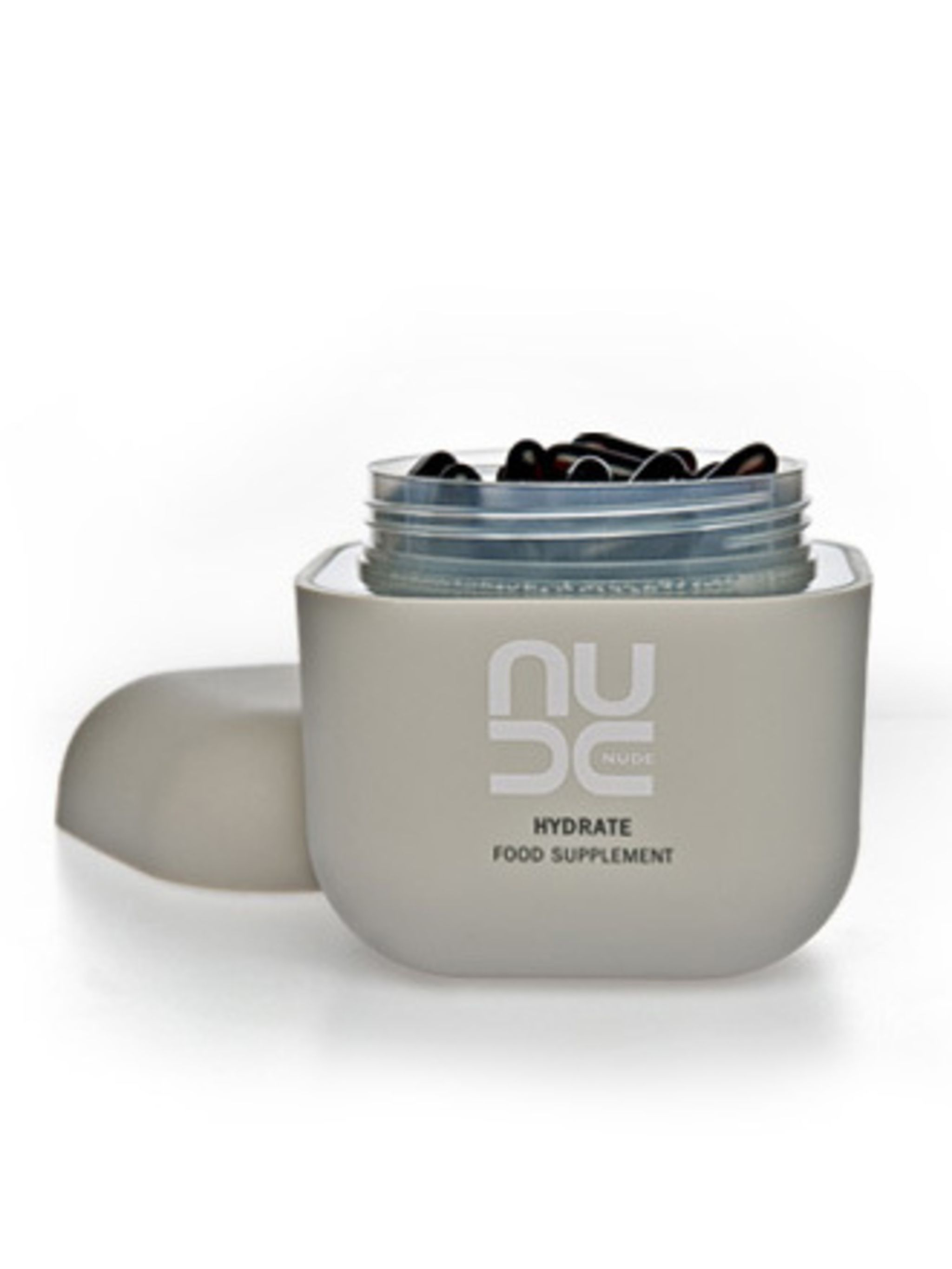 """<p>Nourish your skin from the inside out. Nude's food supplements really do work. Start taking these a week or two before your trip, during and after.</p><p>Hydrate Food Supplement, £52 by <a href=""""http://www.nudeskincare.com/products/supplements/hydrate_"""