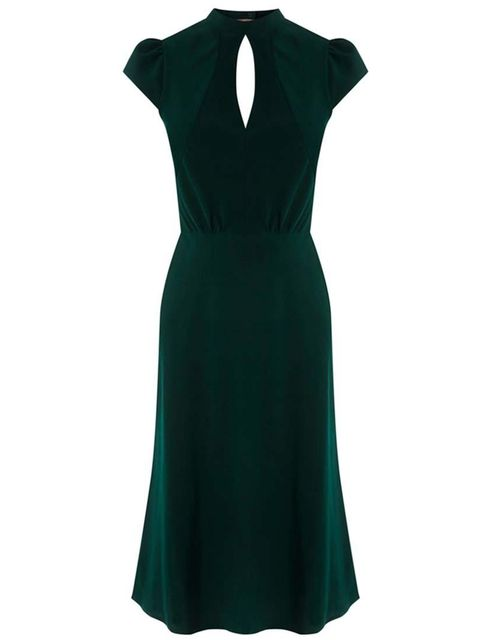 """<p><a href=""""http://www.warehouse.co.uk/high-neck-slinky-dress/partywear/warehouse/fcp-product/5563111022"""" target=""""_blank"""">Warehouse</a>dress, £40.</p>"""