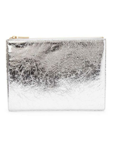 """<p><a href=""""http://www.whistles.com/women/accessories/bags/medium-cracked-clutch.html?dwvar_medium-cracked-clutch_color=Silver#start=1"""" target=""""_blank"""">Whistles</a> cracked metalic leather clutch, £65.</p>"""