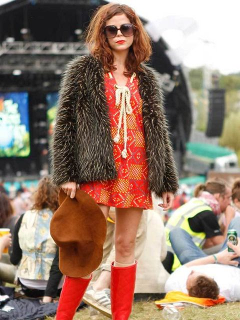 <p>Photo by Anthea Simms.Rachel, 30, Physiologist. Sass and Bide dress, Kate Moss for Topshop jacket, Hunter wellies, Asos sunglasses.</p>