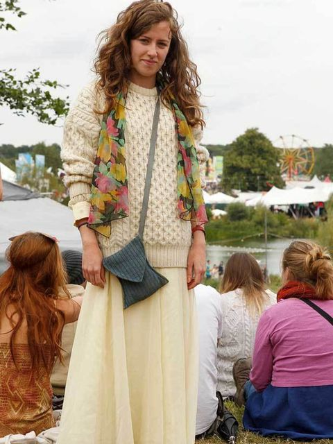 <p>Photo by Anthea Simms.Libby, 23, Publishing. Jumper from charity shop, skirt from New York thrift shop, scarf from Camden, bag from festival.</p>