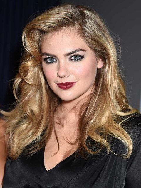 """<p><a href=""""http://www.elleuk.com/beauty/news/kate-upton-bobbi-brown-new-face-katie-holmes"""">Kate Upton</a> pairs a retro hairstyle with a berry lip <em>and</em> softly smoked eye.</p>"""