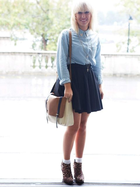 <p>Sophie, 18, Student. Topshop shirt, River Island skirt, New Look shoes, Primark bag.</p>