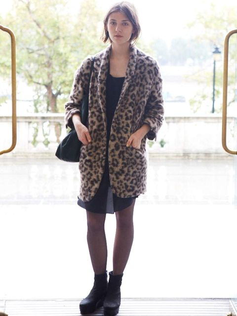 <p>Marta, 19, Student. Zara jacket, Topshop dress, Vagabond shoes, Zara bag.</p>