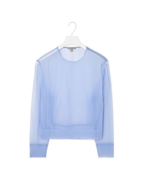 """<p>Fashion Intern Jeanne Calmet is the first in line for this season's soft colour palette trend.</p>  <p><a href=""""http://www.cosstores.com/gb/Women/New/Sheer_round-neck_top/32993034-25887465.1#c-24479"""" target=""""_blank"""">Cos</a> shirt, £59</p>"""