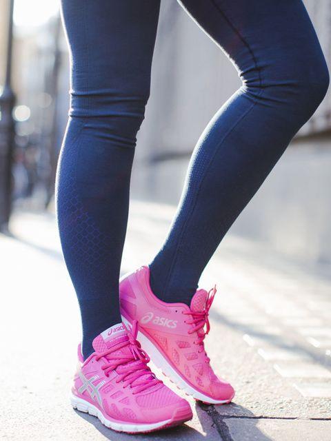 "<p><a href=""http://www.sweatybetty.com/clothes/bottoms/leggings/blue-adagio-dance-leggings/"" target=""_blank"">Adagio</a> leggings, £65</p>  <p><a href=""http://www.asics.co.uk/"" target=""_blank"">Asics Running shoes</a></p>"