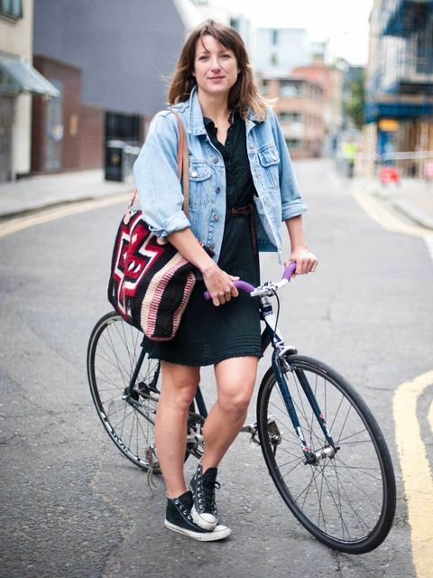 <p>Posy, 29. Charge bicycle, vintage jacket, dress from the Netherlands, Converse trainers, bag from San Francisco.</p><p>Photo by Stephanie Sian Smith</p>