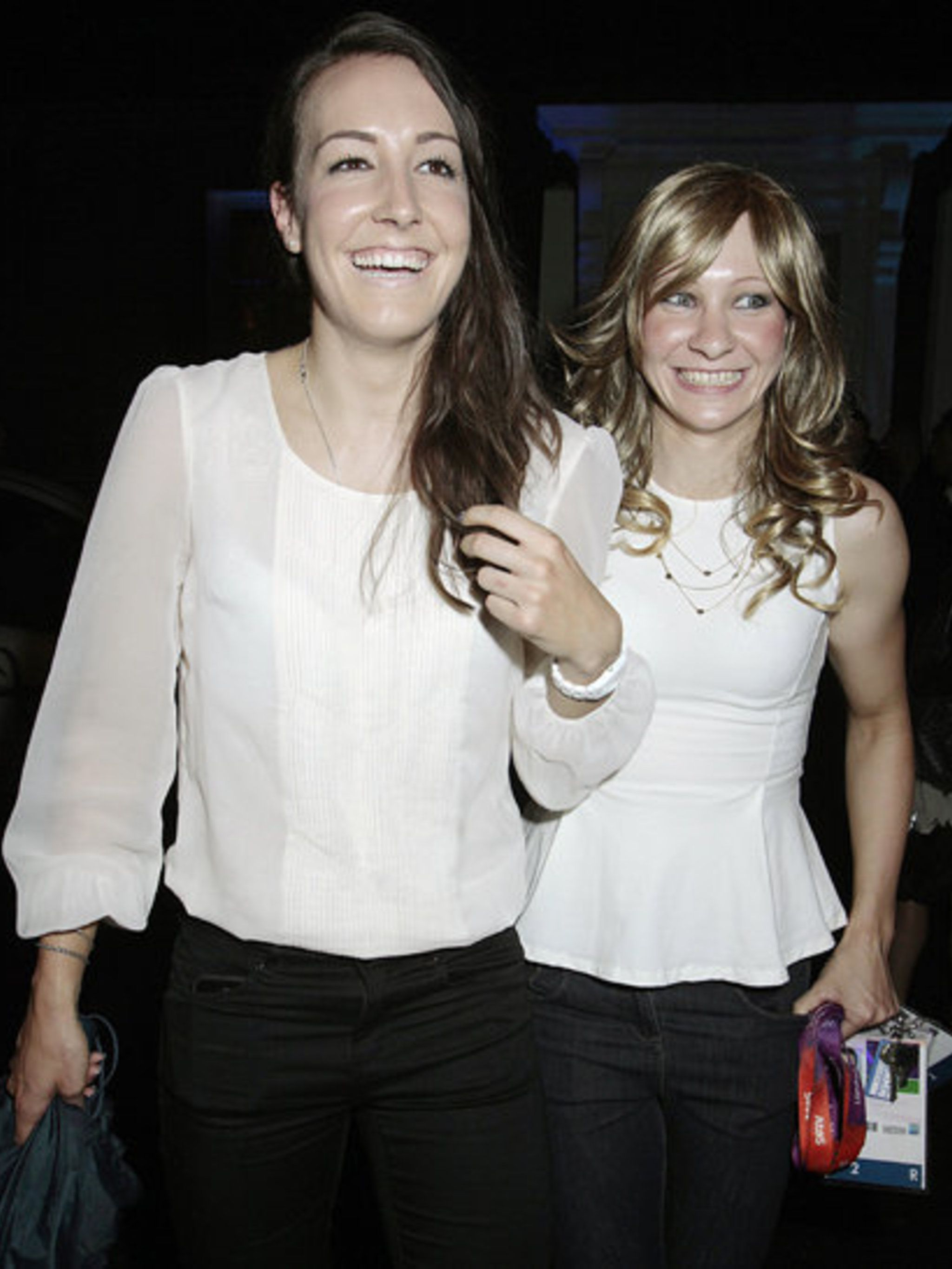 <p>Gold medal cyclists Dani King and Joanna Rowsell matched in white as they partied at Mahiki to celebrate their Olympic success in London.</p>