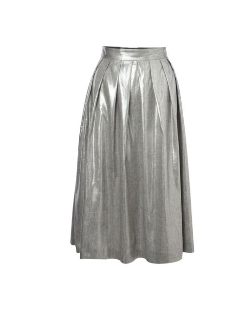 """<p>Tick off two trends in one with this metallic mid-length skirt... <a href=""""http://www.frenchconnection.com/"""">French Connection</a> skirt, £95</p>"""