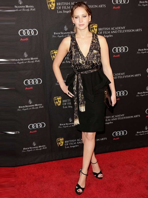 """<p><a href=""""http://www.elleuk.com/star-style/celebrity-style-files/jennifer-lawrence"""">Jennifer Lawrence</a> attends the BAFTA Tea Party, La, 2013.</p>"""