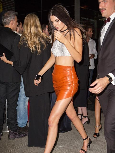 Kendall Jenner arrives for Rihanna's private Met Gala after party in New York, May 2015.