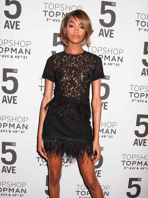 Jourdan Dunn wearing Topshop for the lagship store opening, New York, November 2014.