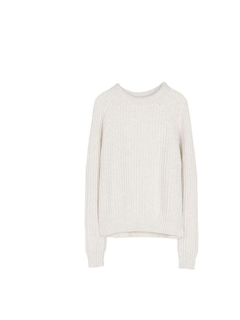"""<p>A cream fisherman's jumper will lift a wardrobe of wintery navy and grey. Editor in Chief's PA Gillian Brett will wear hers with a leather pencil skirt and a pair of ankle boots.</p><p><a href=""""http://www.zara.com/uk/en/woman/knitwear/ribbed-sweater-c2"""