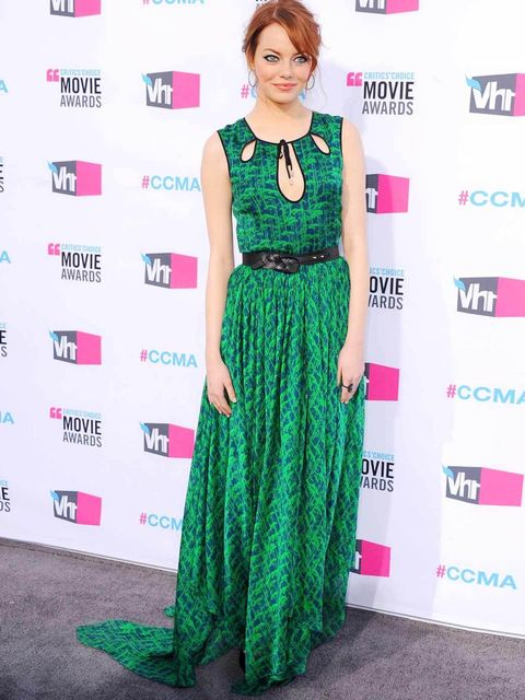 <p>Emma Stone in a green Jason Wu gown.</p>