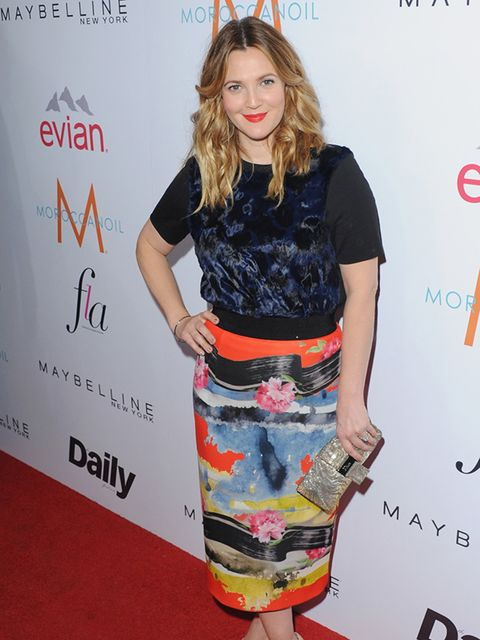 Drew Barrymore attends a fashion awards ceremony in Los Angeles, January 2015