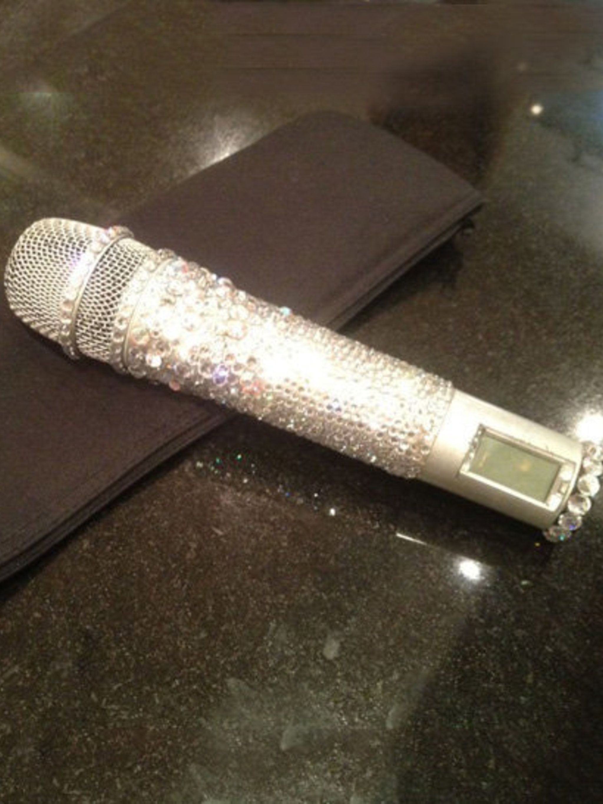 <p>Victoria Beckham's crystal-covered mic</p>