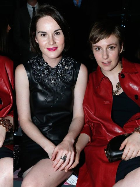 "<p>Michelle Dockery and Lena Dunham at the <a href=""http://www.elleuk.com/catwalk/designer-a-z/miu-miu/spring-summer-2014/collection"">Miu Miu</a> SS14 show during Paris Fashion Week.</p><p><a href=""http://www.elleuk.com/star-style/red-carpet/front-row-at-"