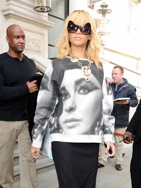 "<p><a href=""http://www.elleuk.com/star-style/celebrity-style-files/rihanna"">Rihanna</a> wearing a Cleopatra print sweater from the <a href=""http://www.elleuk.com/catwalk/designer-a-z/unique/spring-summer-2012/collection"">Topshop Unique spring summer 12 co"