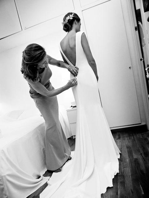 """<p>I had the<a href=""""http://www.pronovias.com/wedding-dresses-2014/2014-atelier"""" target=""""_blank"""">Atelier Pronovias</a> team design me a spectacular crepe dress.</p>"""