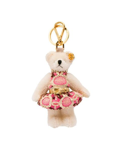 "<p><a href=""http://www.prada.com/en/GB/e-store/gifts/woman/tricks/product/1ARI13_2E3P_F0009.html"" target=""_blank"">Prada</a> teddy key chain, £155.</p>"