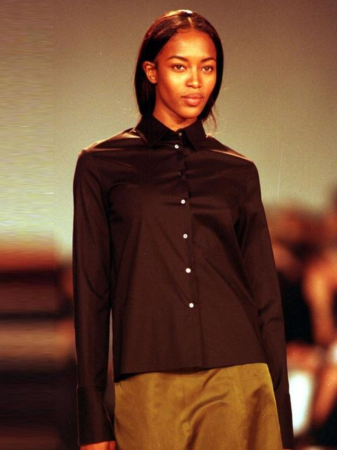 """<p><a href=""""http://www.elleuk.com/star-style/celebrity-style-files/naomi-campbell"""">Naomi Campbell</a> on the catwalk for Louis Vuitton Autumn/ Winter 1998 collection, Paris Fashion Week 1998.</p><p><a href=""""http://www.elleuk.com/star-style/celebrity-style"""