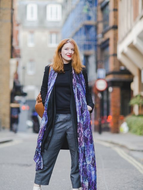 Natasha Pearlman - Deputy Editor.  Reiss coat, Marks & Spencer top, Margaret Howell trousers, Nicholas Kirkwood shoes, Lily and Lionel scarf, Asos backpack.