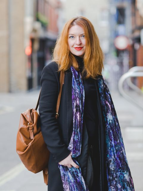 Natasha Pearlman - Deputy Editor.  Reiss coat, Marks & Spencer top, Lily and Lionel scarf, Asos backpack.