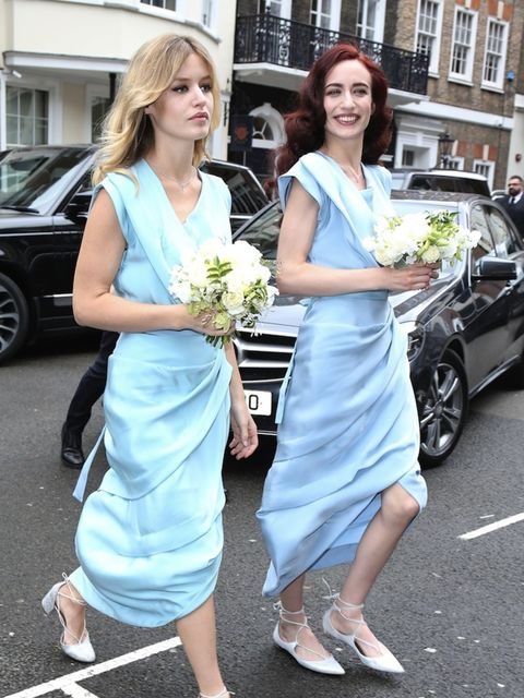 Georgia May and Elizabeth Jagger acted as bridesmaids for mother Jerry Hall as she married Rupert Murdoch in March 2016. They wore pale blue dresses by Vivienne Westwood.
