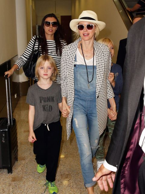 Naomi Watts at ease with her family in Sydney.