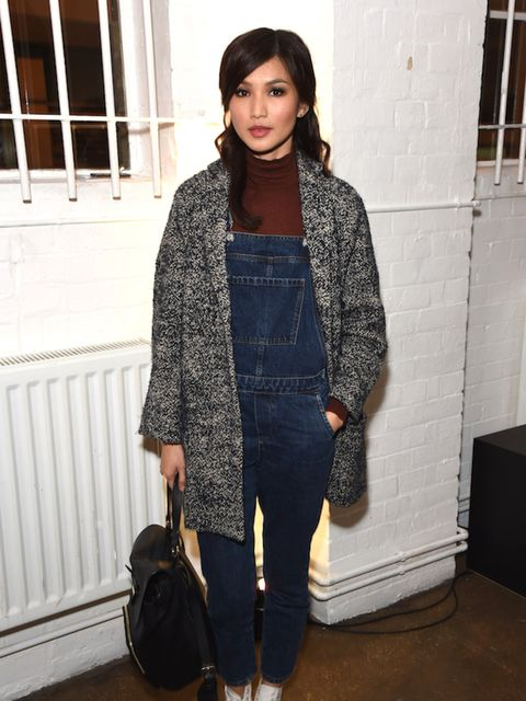 Gemma Chan does Winter dungaree wearing justice at the Whistles Men WE ARE ONE showcase.