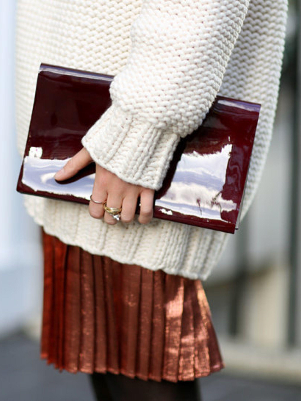 "<p>Harriet wears <a href=""http://www.topshop.com/webapp/wcs/stores/servlet/TopCategoriesDisplay?storeId=12556&amp&#x3B;catalogId=33057"">Topshop skirt</a> (in store April) £45, <a href=""http://www.stories.com/Ready-to-wear/Knitwear/Cotton_and_wool-blend_sweater"